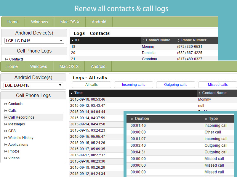 Logs all calls and contacts and upload from the phone to your account.