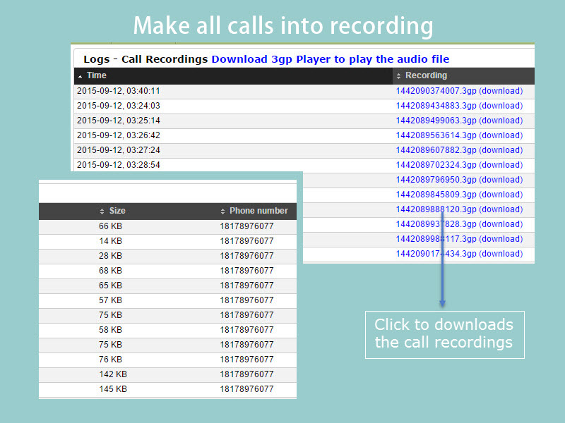 Make all calls into recording and upload to your account