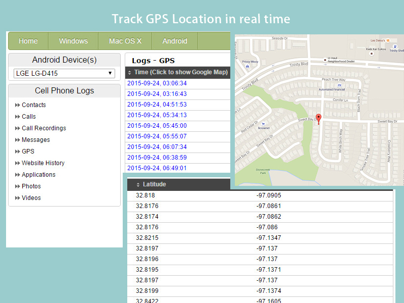 Track and upload GPS Locations in real time.